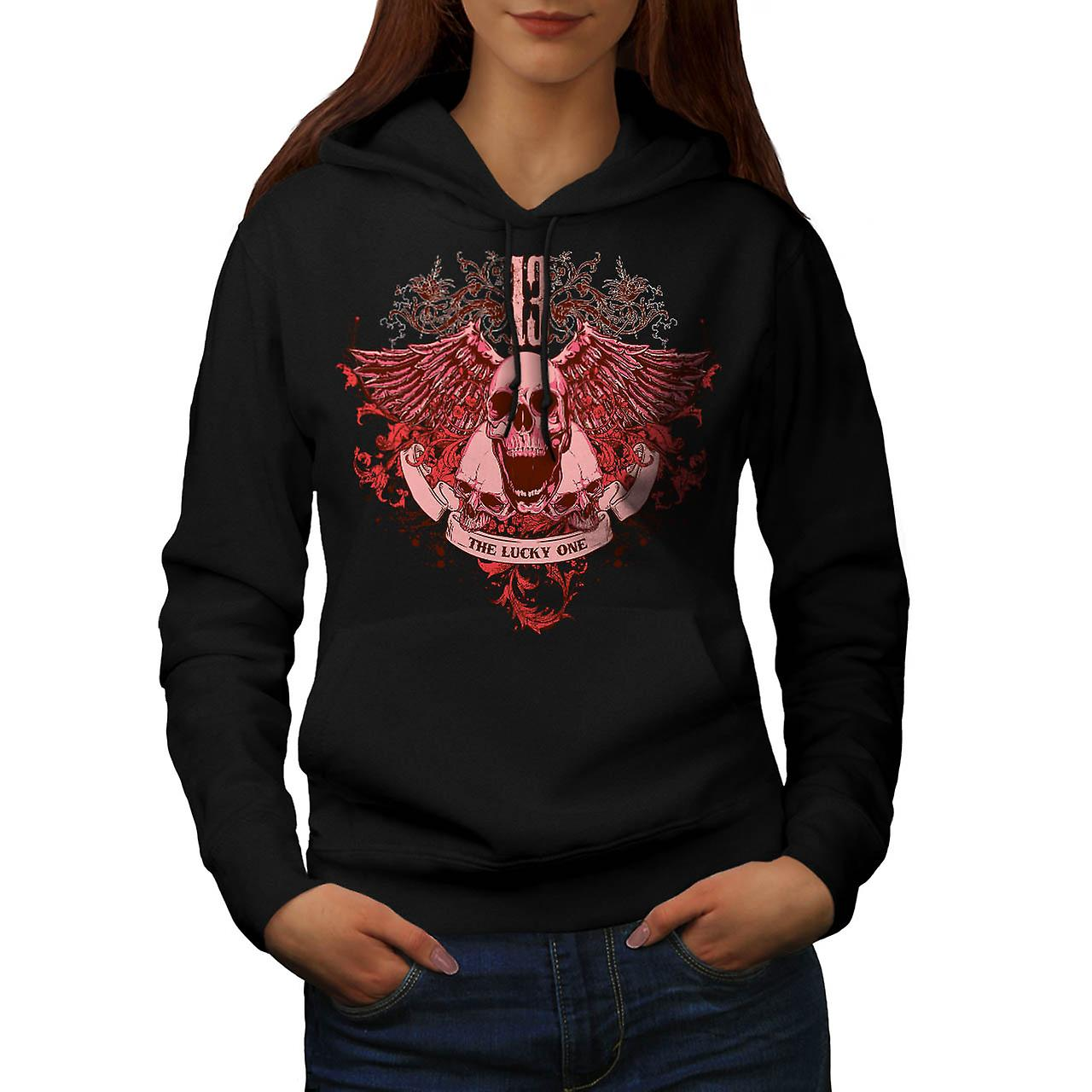 13 The Lucky One Skull Women Black Hoodie | Wellcoda