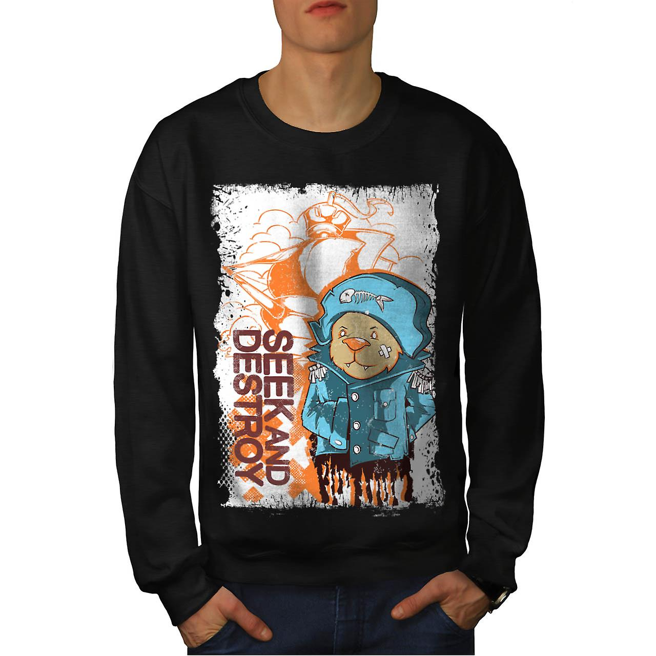 Seek And Destroy Bear Pirate Coat Men Black Sweatshirt | Wellcoda