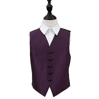 Boy's Cadbury Purple Solid Check Wedding Waistcoat
