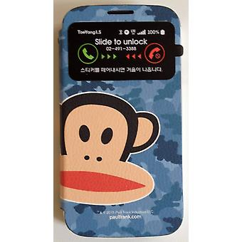 Original Paul Frank® View bag Cover Art Leather for Samsung Galaxy S4 / LTE with Design Camo Blue