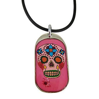 Różowy dzień z wisiorkiem w kształcie czaszki zmarłych / naszyjnik kauczuk