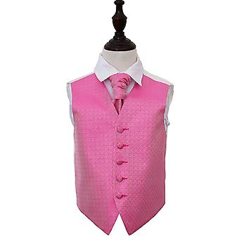 Boy's Fuchsia Pink Greek Key Patterned Wedding Waistcoat & Cravat Set
