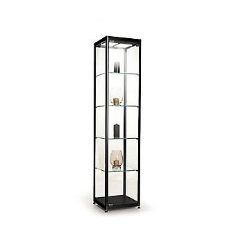 Black Glass Display Cabinet with 2 LED Lights - 400mm