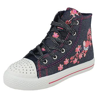 Girls Air tech Denim Textile Lace Up Hi Top Baseball Boots - Rollar