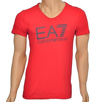 EA7 Emporio Armani Sea World Core Logo V-Neck T-Shirt, Red, Small