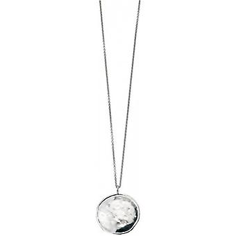 Elements Silver Rhodium Plated Round Hammered Pendant - Silver