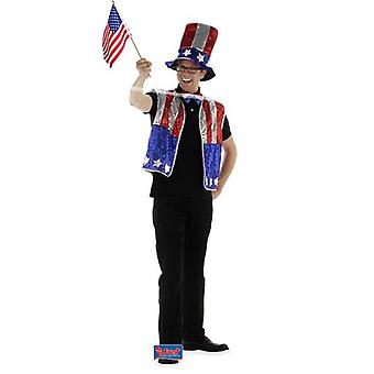 America USA costume of glitter 3-piece Uncle Sam US America Cosume