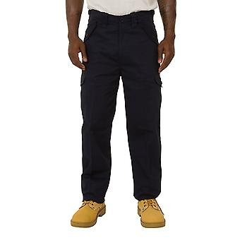 Mens Cargo Trousers - Navy Cargo pockets Adjustable waist