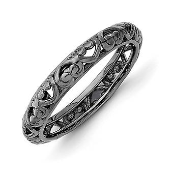 3.5mm Sterling Silver Ruthenium plating Stackable Expressions Black-plated Carved Ring - Ring Size: 5 to 10