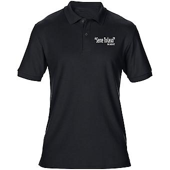 RMAS Sandhurst Motto Serve To Lead Text Embroidered Logo- Official - Mens Polo Shirt