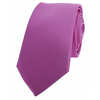 David Van Hagen Luxury Thin Satin Silk Tie - Pink