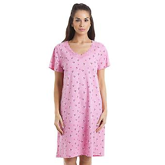 Camille Pink Floral And Heart Print Light Pink Cotton Nightdress