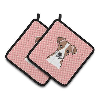 Checkerboard Pink Jack Russell Terrier Pair of Pot Holders