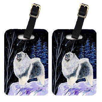 Carolines Treasures  SS8357BT Starry Night Keeshond Luggage Tags Pair of 2