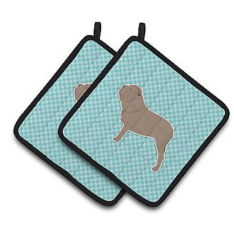Neapolitan Mastiff Checkerboard Blue Pair of Pot Holders