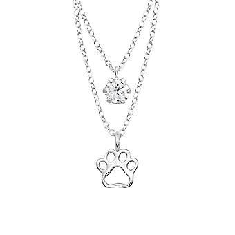 Paw Print  Layered Necklace - 925 Sterling Silver Jewelled Necklaces - W33005x