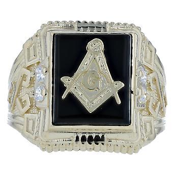 10k Yellow Gold Onyx Stone Masonic CZ Ring Freemason SymbolRing