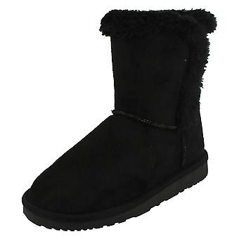 Girls Spot On Ankle Fur Trim Boots