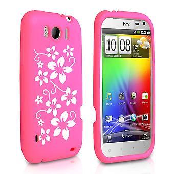 Yousave Accessories HTC Sensation Xl Floral Gel Case - Hot Pink