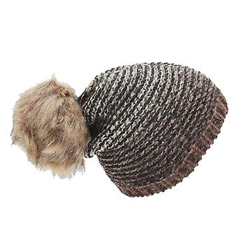 Womens/Ladies Ombre Knit Winter Beanie Hat With Faux Fur Pom Pom
