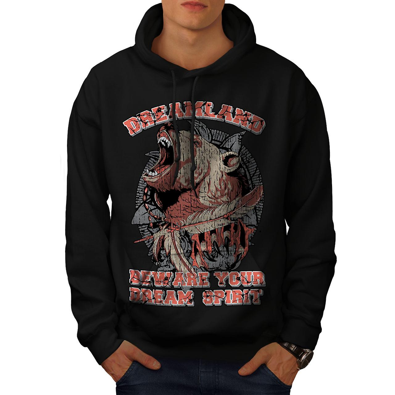 Dreamland Grizzly Animal Men Black Hoodie | Wellcoda