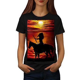 Horse Sea Sunset Women BlackT-shirt | Wellcoda