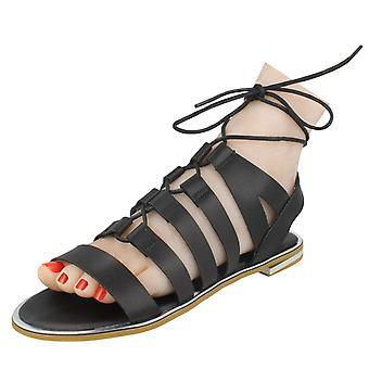 Miejscu panie na płaskie sznurowane sandały gladiatorki stylu