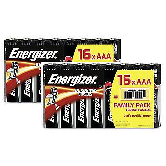 32 x Energizer AAA Alkaline Power LR03 Batteries