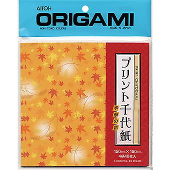 Origami Paper 40 Pkg Leaves Chiyogami Ayc200