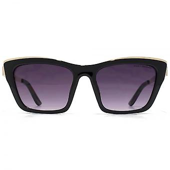 Kurt Geiger Angular Cateye With Metal Inlay Sunglasses In Shiny Black