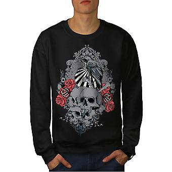Rose Krähe gruselige Schädel Männer BlackSweatshirt | Wellcoda