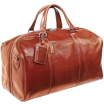 S Babila Leather Holdall Cabin Bag Overnight Weekend Case Duffel Hand Luggage