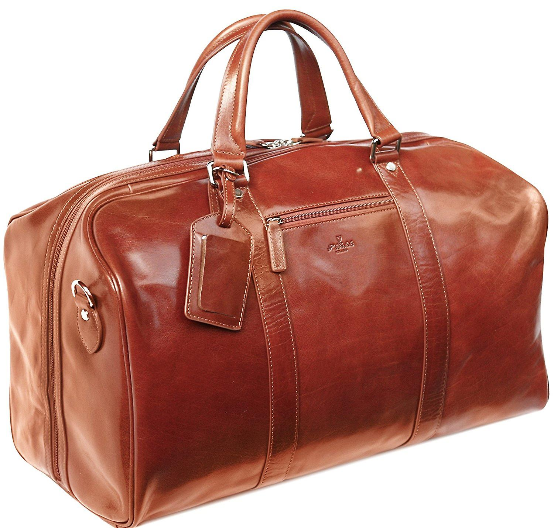 S Babila Leather Holdall Cabin Bag Overnight Weekend Case Duffel Hand Luggage