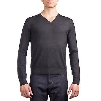 Prada Herren Schurwolle Pullover mit V-Ausschnitt Charcoal Grey