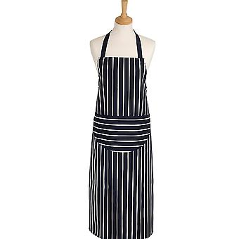Rushbrookes Classic Butcher's Stripe Longer Length Apron, Navy
