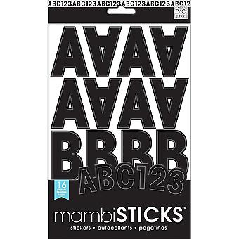 Large Alphabet And Number Stickers-Black Caps