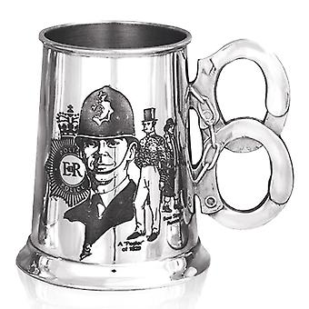 Police History Handcuff Handle Pewter Tankard - 1 Pint