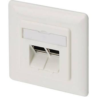 Network outlet Flush mount Insert with main panel and frame CAT 6A 2 ports Digitus DN-9008 Pure white