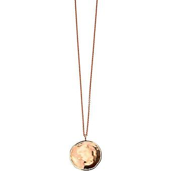 Elements Silver Rose Gold Plated Round Hammered Pendant - Rose Gold