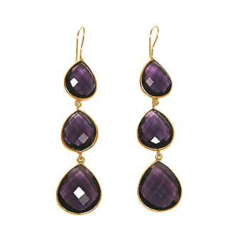 Gemshine - ladies - earrings - 925 Silver - purple - CANDY gold plated - Amethyst - violet - - drop - 9 cm
