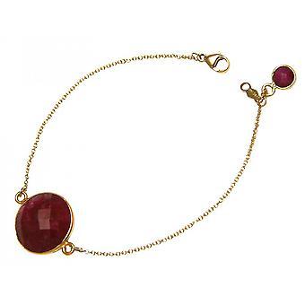 Bangle Bracelet - vergulde Bangle - robijn - rood - facetten - 19 cm