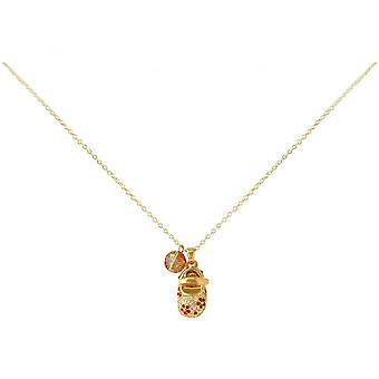 Women - child - necklace - pendants - gold plated - shoe - red - 45 cm
