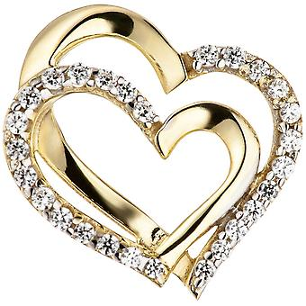 Heart pendant bicolor 333 gold yellow gold with cubic zirconia pendant gold gold heart