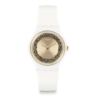 Swatch Gw199 Sparklelight Gold & White Silicone Watch