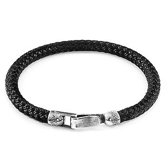 Anchor & Crew Black Paignton Silver and Rope Bracelet
