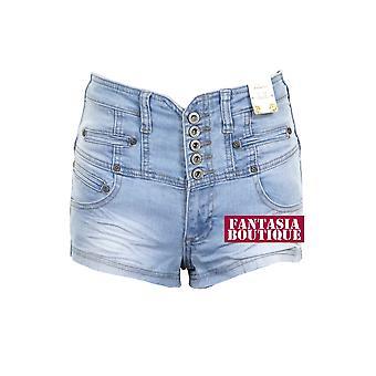 Дамы высокой талией джинсовая свет мыть синий исчез в шортах установлены шорты женские
