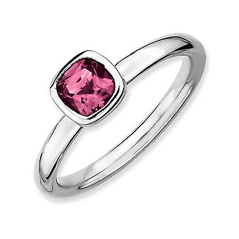 Sterling Silver Bezel Polished Rhodium-plated Stackable Expressions Cushion Cut Pink Tourm. Ring - Ring Size: 5 to 10