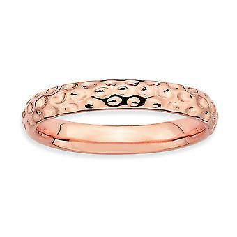 Sterling Zilver gepolijst gedessineerde stapelbare expressies roze-vergulde Ring - Ringmaat: 5 tot 10
