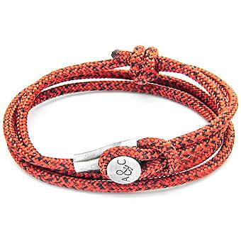Anchor and Crew Dundee Silver and Rope Bracelet - Red Noir