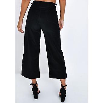 Corduroy Wide Leg Trousers Black